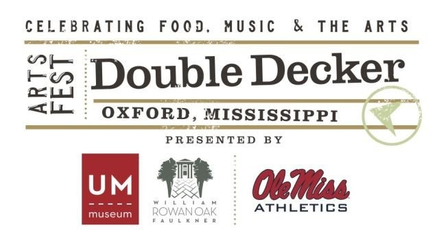 A poster for the Double Decker Festival in Oxford, Mississippi.